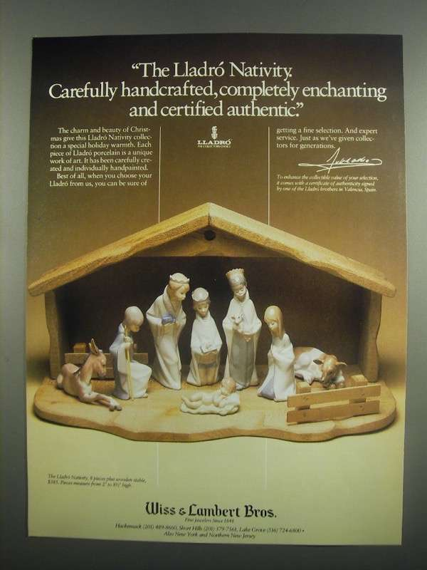 Primary image for 1984 Wiss & Lambert Bros. Lladro Nativity Collection Ad