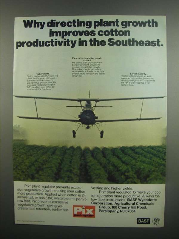 Primary image for 1984 BASF Pix Plant Regulator Ad - Directing Growth