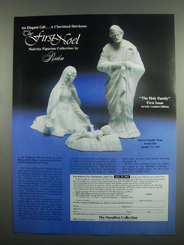 Primary image for 1984 Boehm The Holy Family Porcelain Ad