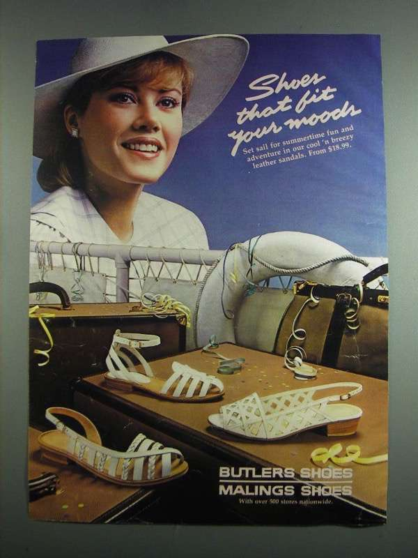 Primary image for 1984 Butlers Malings Cool 'n Breezy Leather Sandals Ad
