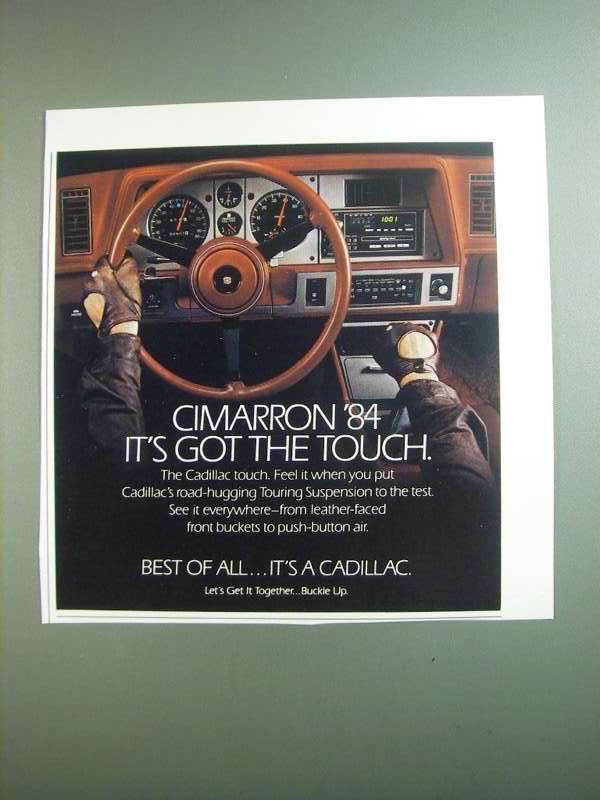 Primary image for 1984 Cadillac Cimarron Ad - It's Got the Touch
