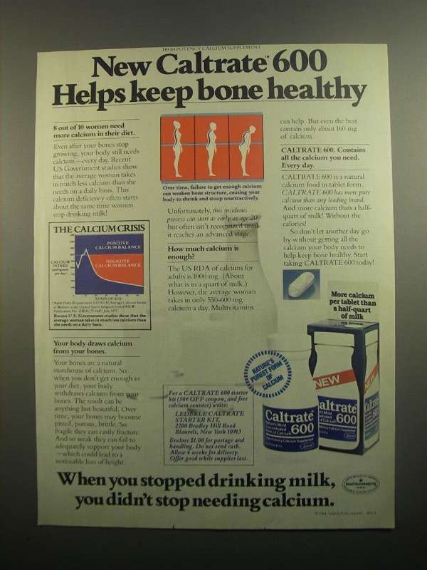 Primary image for 1984 Caltrate 600 Calcium Supplement Ad - Bone Healthy