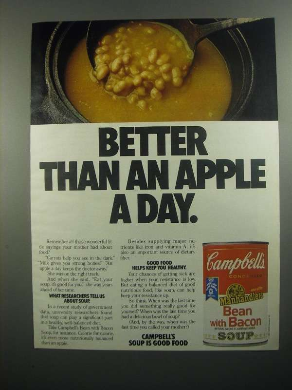 Primary image for 1984 Campbell's Bean with Bacon Soup Ad - Apple a Day