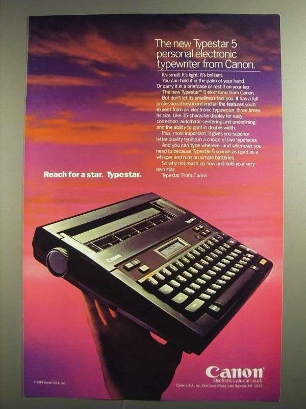 Primary image for 1984 Canon Typestar 5 Electronic Typewriter Ad