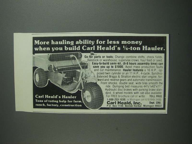 Primary image for 1984 Carl Heald 1/4-ton Hauler Ad - More Ability