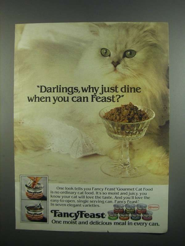 Primary image for 1984 Carnation Fancy Feast Cat Food Ad - Darlings