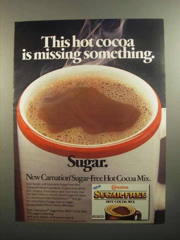 Primary image for 1984 Carnation Sugar-Free Hot Cocoa Mix Ad - Missing