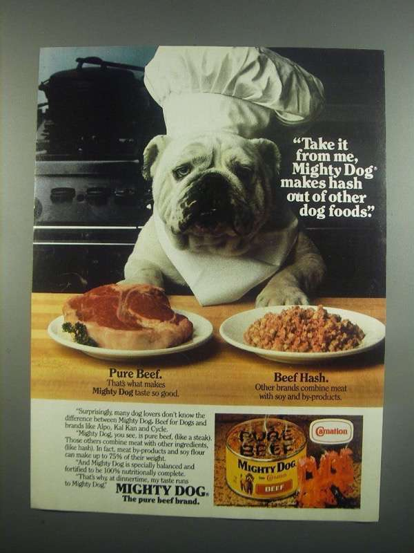Primary image for 1984 Carnation Mighty Dog Food Ad - Take it From Me