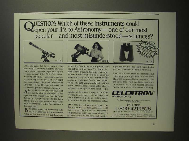 Primary image for 1984 Celestron C-60 and C-8 Telescopes Ad