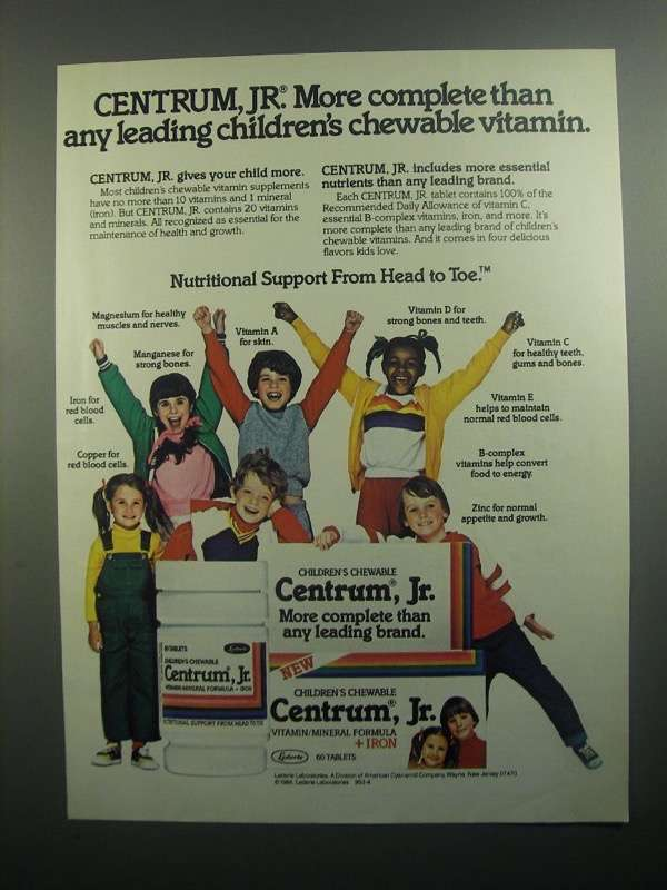 Primary image for 1984 Centrum, Jr. Vitamins Ad - More Complete