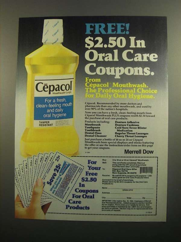 Primary image for 1984 Cepacol Mouthwash Gargle Ad - Oral Care