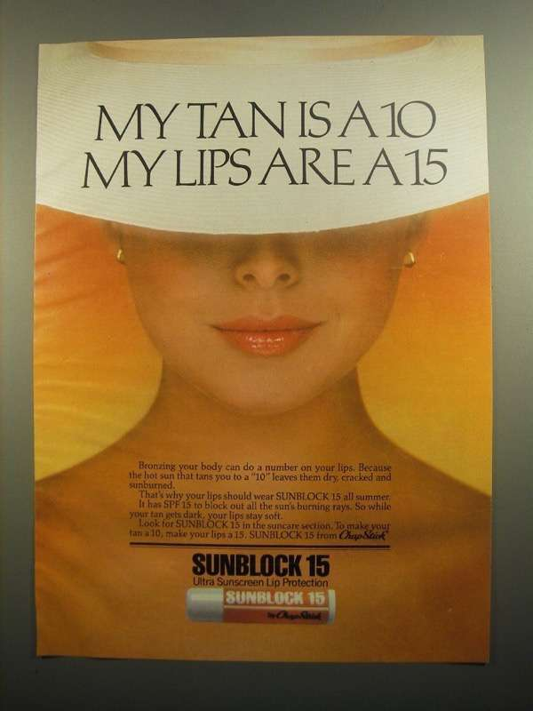 Primary image for 1984 Chap Stick Sunblock 15 Sunscreen Lip Protection Ad