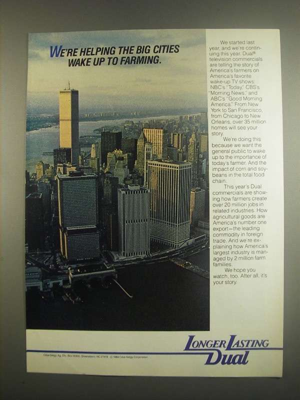 Primary image for 1984 Ciba-Geigy Dual Ad - Helping Big Cities Wake up