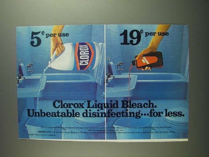 Primary image for 1984 Clorox Bleach Ad - Unbeatable Disinfecting