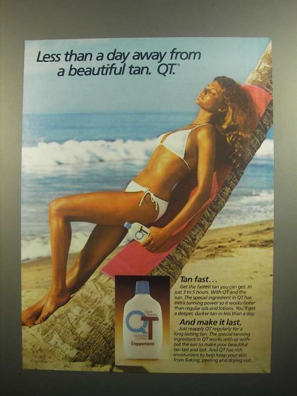 Primary image for 1984 Coppertone QT Quick Tanning Suntan Lotion Ad