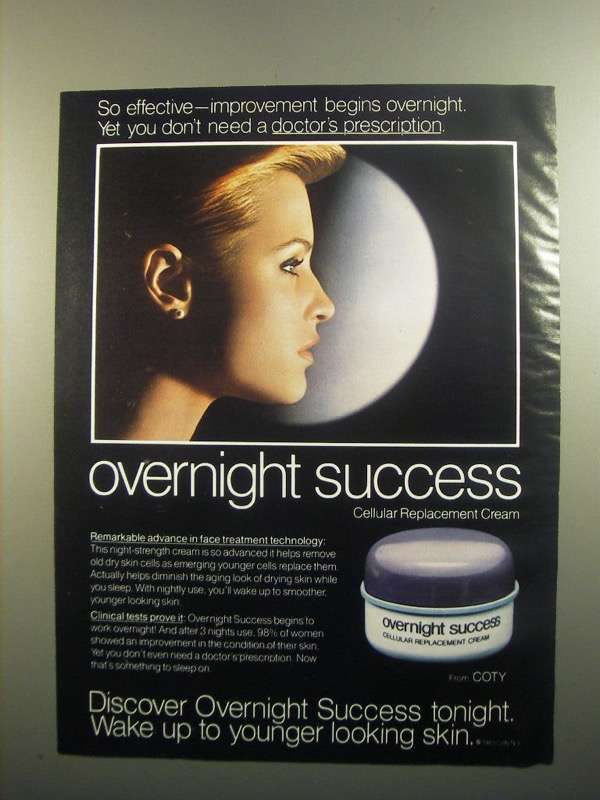 Primary image for 1984 Coty Overnight Success Cellular Cream Ad