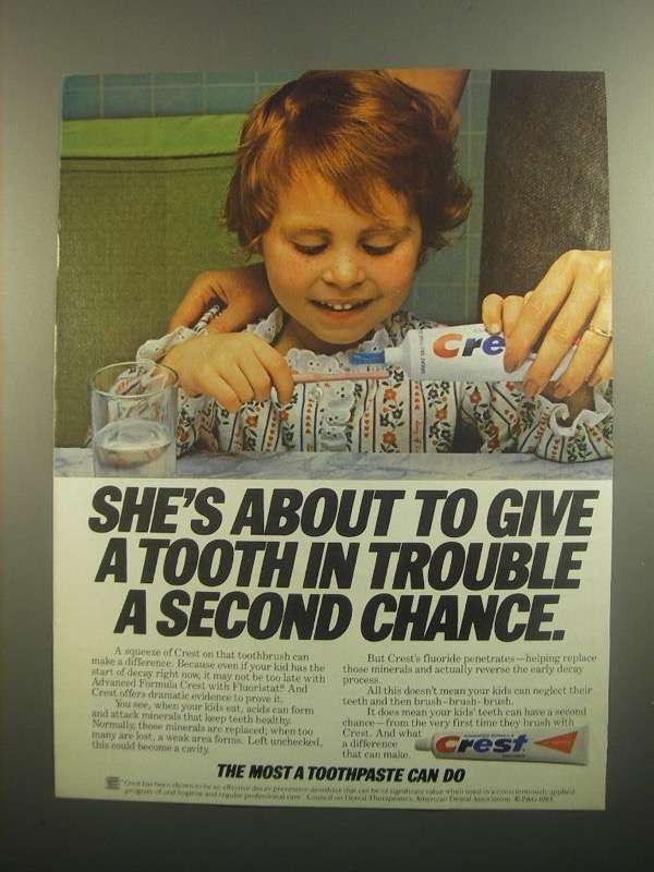 Primary image for 1984 Crest Toothpaste Ad - A Tooth in Trouble