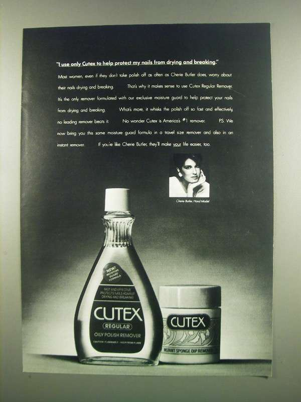 Primary image for 1984 Cutex Polish Remover Ad - Protect my Nails
