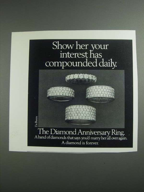 Primary image for 1984 De Beers Diamond Anniversary Ring Ad - Interest