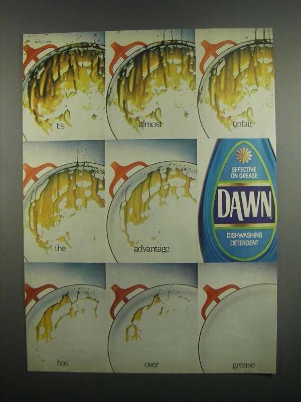 Primary image for 1984 Dawn Dishwashing Detergent Ad - It's Almost Unfair