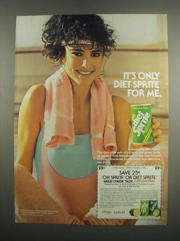 Primary image for 1984 Diet Sprite Soda Ad - It's Only Diet Sprite for Me