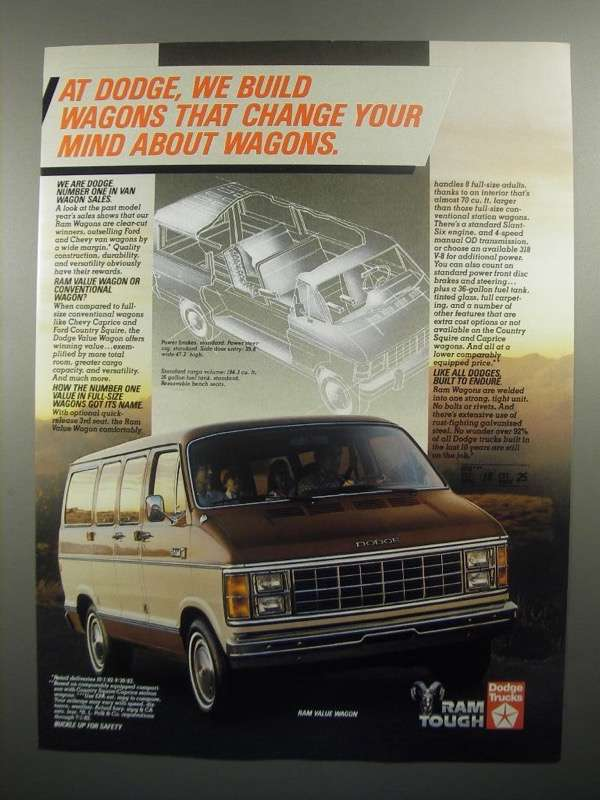 Primary image for 1984 Dodge Ram Value Wagon Ad - Change Your Mind