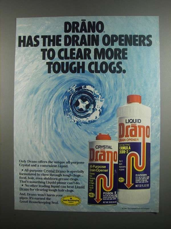 Primary image for 1984 Drano Drain opener Ad - Clear Tough Clogs