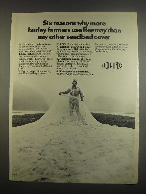 Primary image for 1984 Du Pont Reemay Seedbed covers Ad - Six Reasons