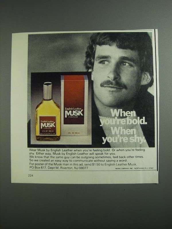 Primary image for 1984 English Leather Musk Cologne Ad - When You're Bold