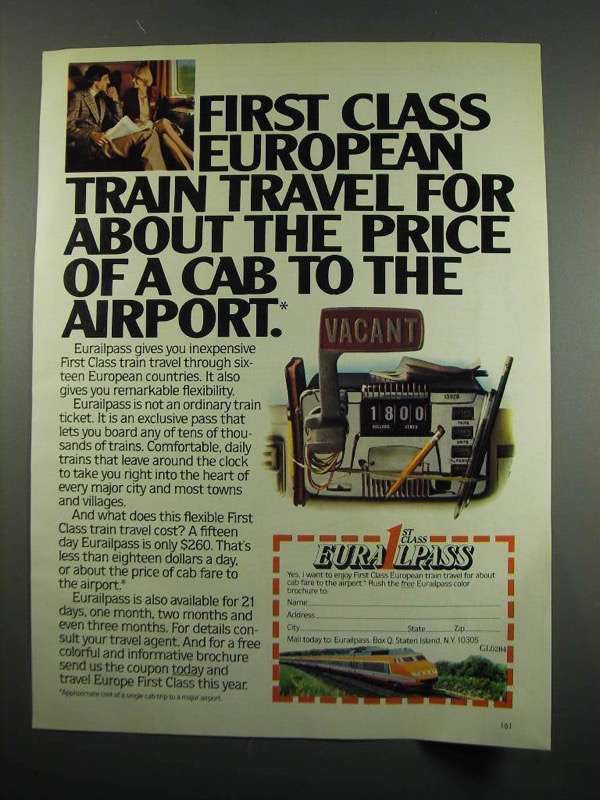 Primary image for 1984 Eurailpass Train Travel Ad - Price of a Cab