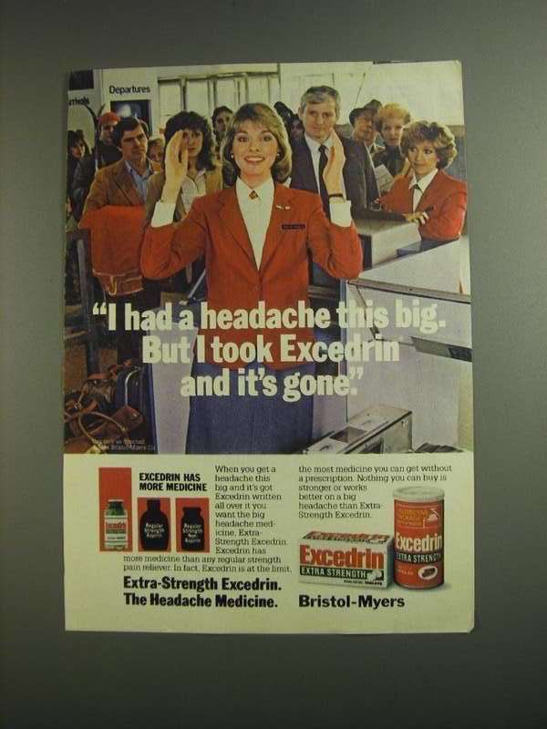 Primary image for 1984 Excedrin Medicine Ad - Had a Headache This Big