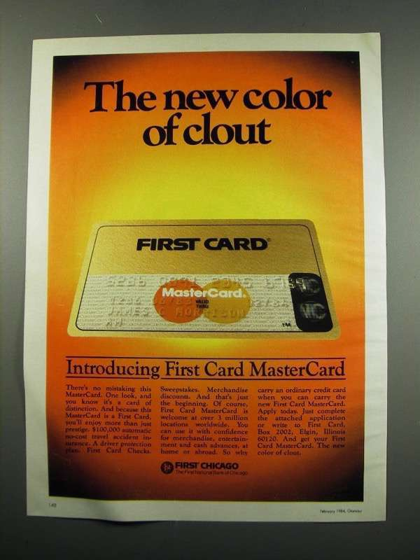 Primary image for 1984 First Chicago First Card MasterCard Ad - Clout
