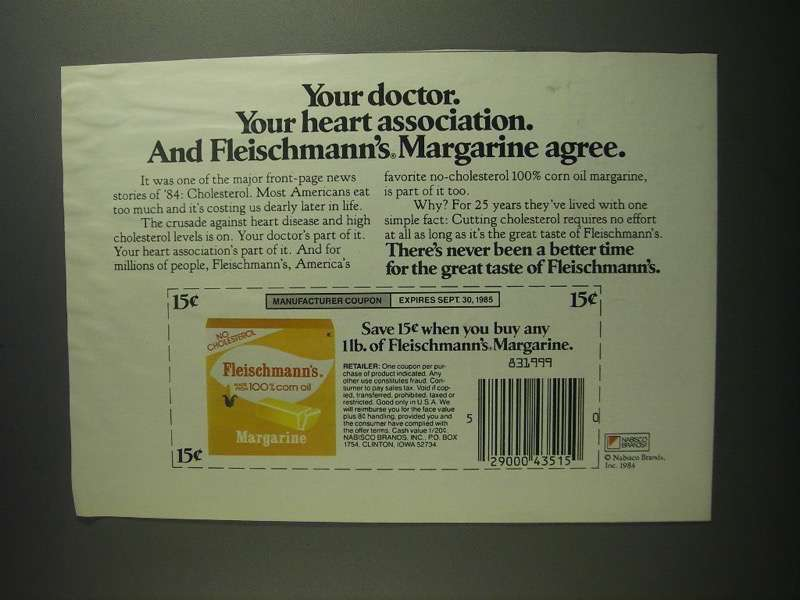 Primary image for 1984 Fleischmann's Margarine Ad - Your Doctor