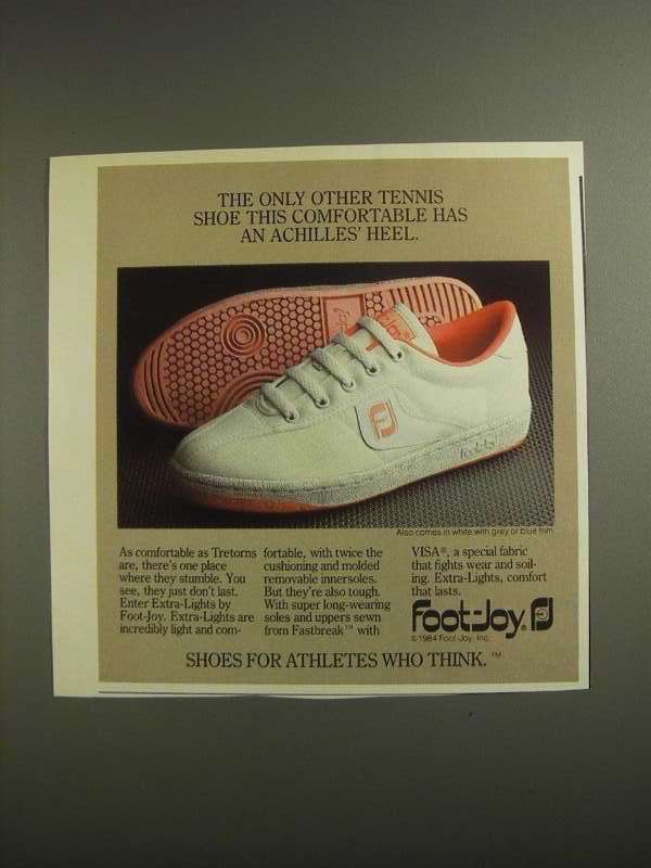 Primary image for 1984 Foot-Joy Extra-Lights Shoes Ad - An Achilles' Heel