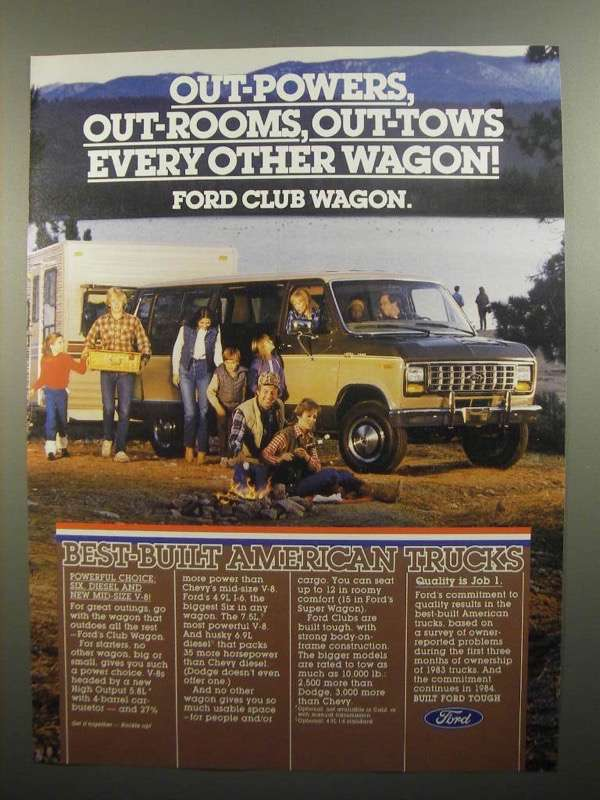 Primary image for 1984 Ford Club Wagon Ad - Out-Powers Out-Rooms