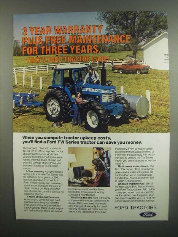 Primary image for 1984 Ford TW-15 Tractor Ad - Warranty Plus