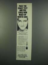 1984 Max Factor Erace Cover-Up Ad - Pass the Test - $14.99