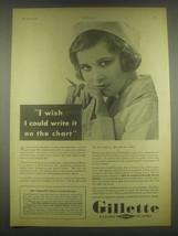 1932 Gillette Razor Blades Ad - I Wish I could Write It - $14.99