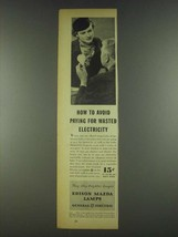 1936 General Electric Edison Mazda Lamps Ad - Wasted - $14.99