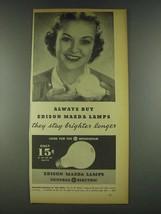 1936 General Electric Edison Mazda Lamps Ad - Buy - $14.99