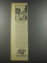 1937 Gillette Blades Ad - Shaves Are Kinder to Face - $14.99