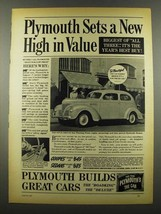 1939 Plymouth Car Ad - Sets a New High in Value - $14.99