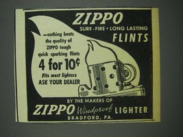 1947 Zippo Flints Ad - Zippo sure-fire long lasting flints - $14.99