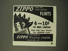 1947 Zippo Flints Ad - Sure-Fire Long Lasting - $14.99