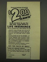1949 Postal Life Insurance Copany Ad - $2.00 A Month - $14.99