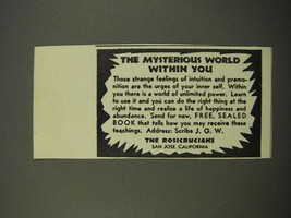 1949 The Rosicrucians Ad - Mysterious World Within You - $14.99