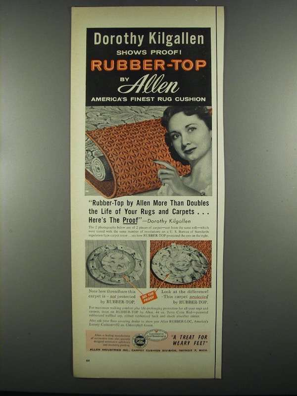 Primary image for 1955 Allen Rubber-Top Carpet Ad - Dorothy Kilgallen