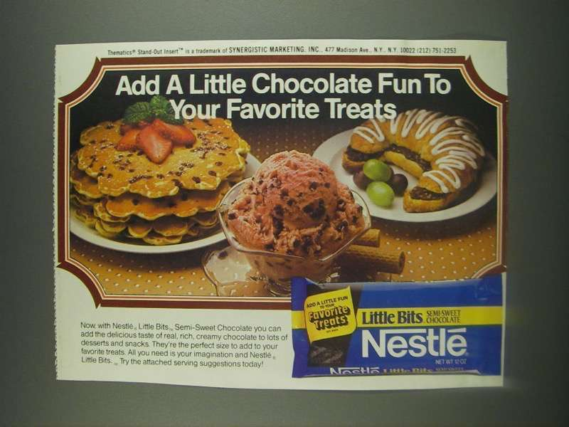 Primary image for 1985 Nestle Little Bits Semi-Sweet Chocolate Ad - Add a Little Chocolate Fun