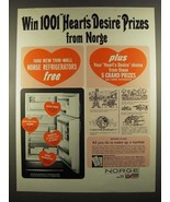 1964 Norge Refrigerator Ad - 1001 Heart's Desire Prizes - $14.99