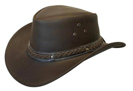 NEW Conner Crushable Water Proof LEATHER Outback Western Cowboy Hat Brow... - €52,95 EUR